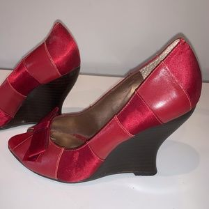 """Women's  BCBG Red Satin/Leather 3"""" Wedge"""